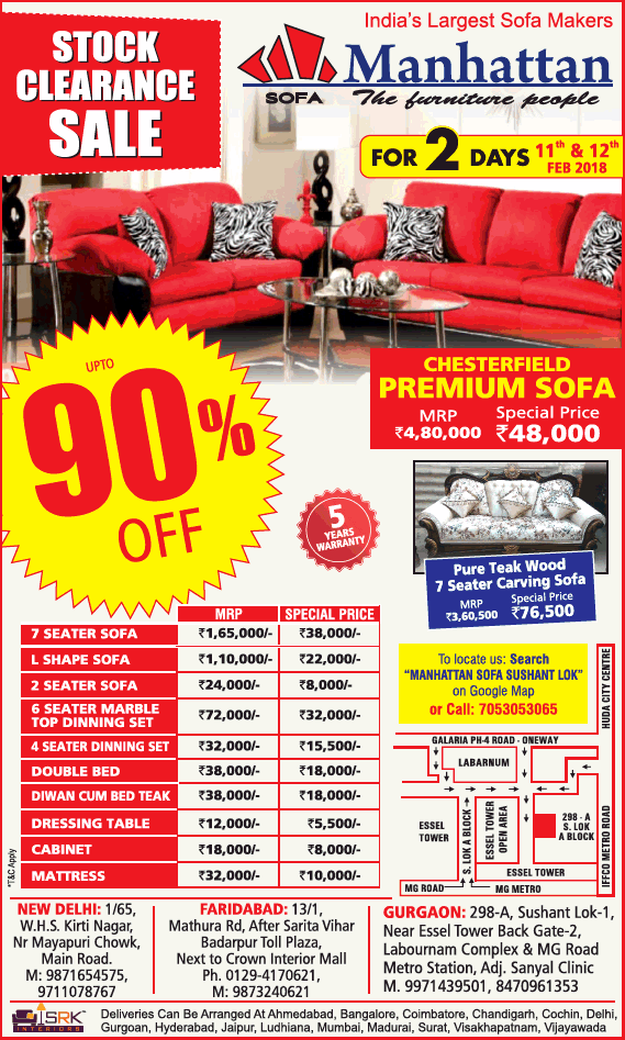 Manhattan Indias Largest Sofa Makers Stock Clearance Sale Upto 90% Off Ad