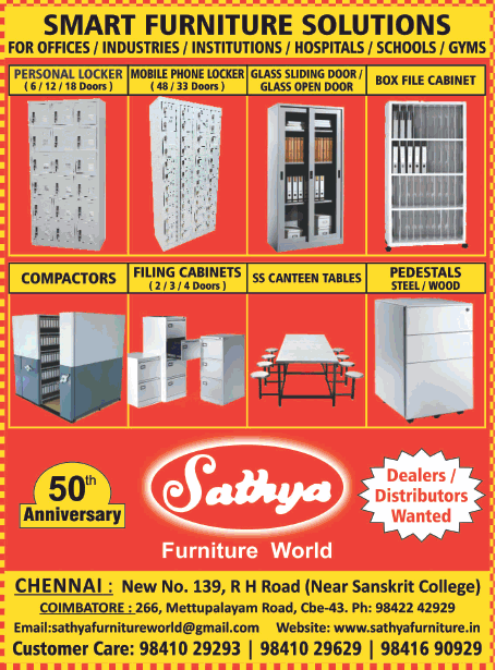 Sathya Furniture World 50th Anniversary Dealers Distributors Wanted Ad Advert Gallery