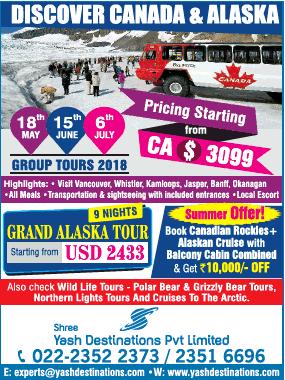 Shree Yash Destinations Pvt Limited Discover Canada And Alaska Ad