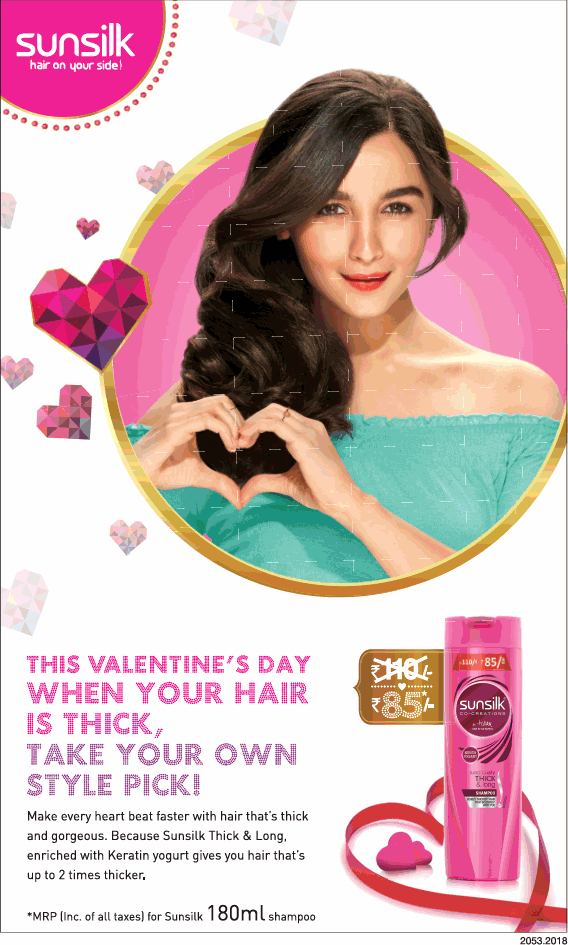 Sunsilk Shampoo This Valentines Day When Your Hair Is Thick Take Your Own Style Pick Ad
