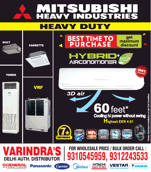 Varindras Delhi Auth Distributor Mitsubishi Heavy Industries Heavy Duty Ad