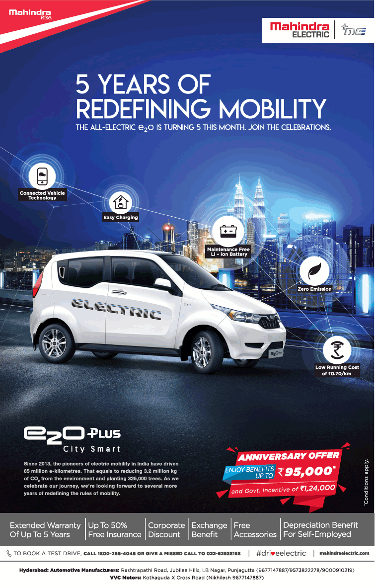 Mahindra Electric 5 Years Of Redefining Mobility Ezo Plus City Smart Ad