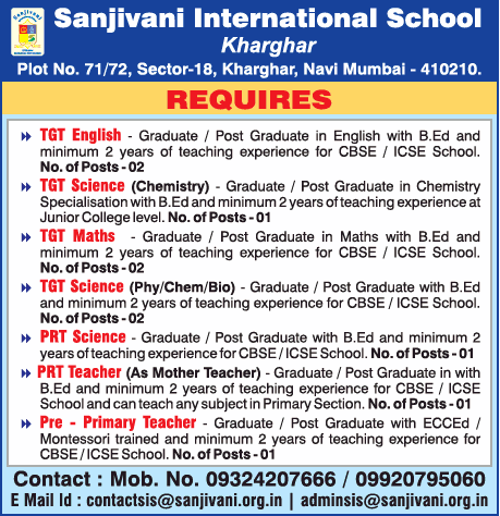 Sanjivani International School Requires Tgt English Teachers