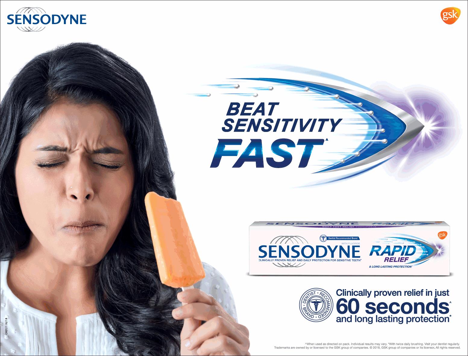 Sensodyne Beat Sensitivity Fast Sensodyne Rapid Relief Ad