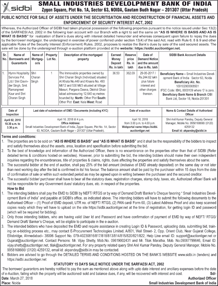 Small Industries Development Bank Of India Public Notice Ad