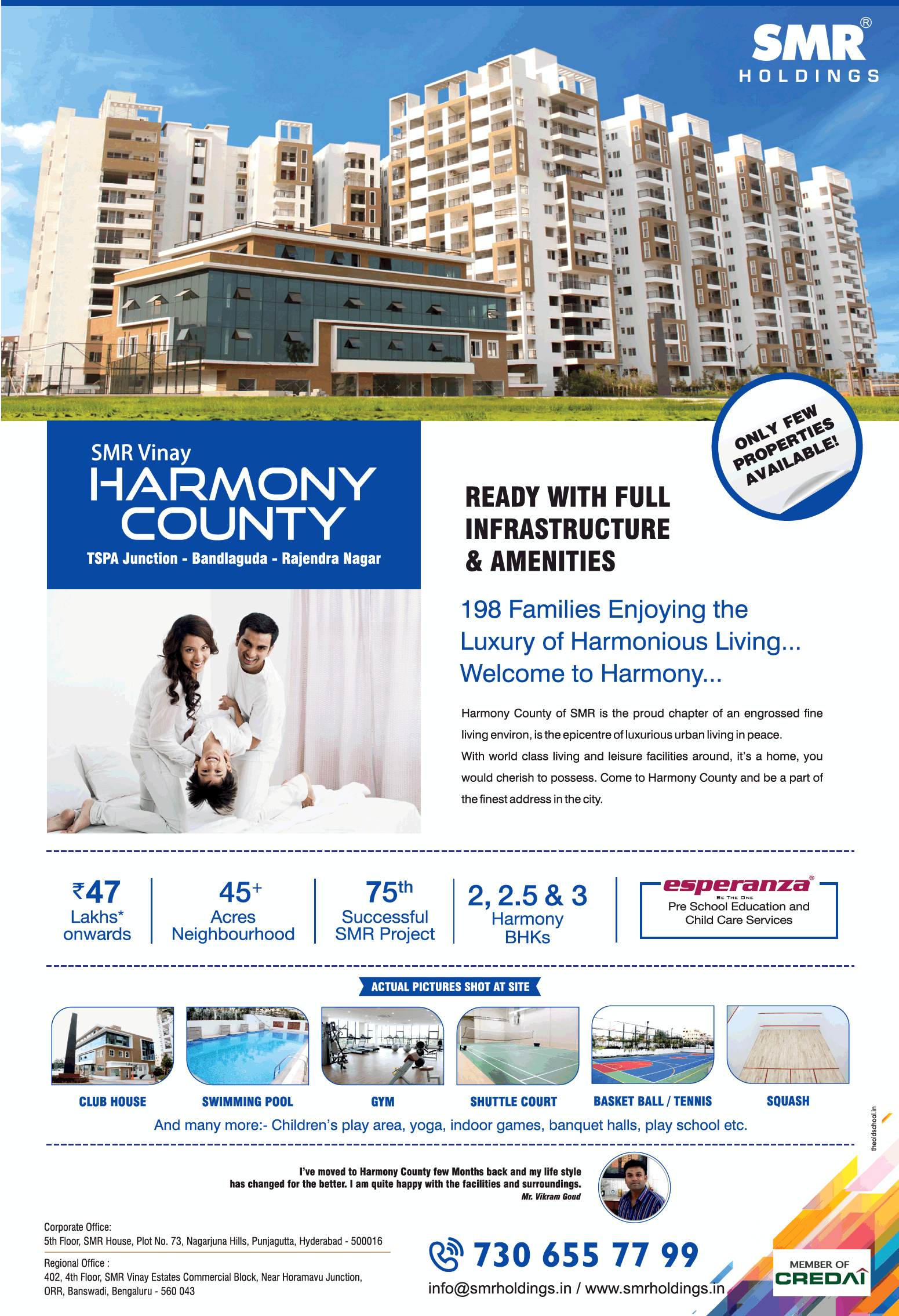 Smr Holidays Smr Vinay Harmony County Ready With Full Infrastructure And Amenities Ad