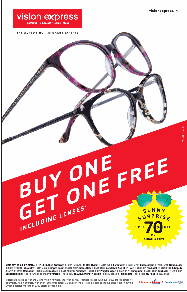 Vision Express Buy One Get One Free Including Lenses Ad