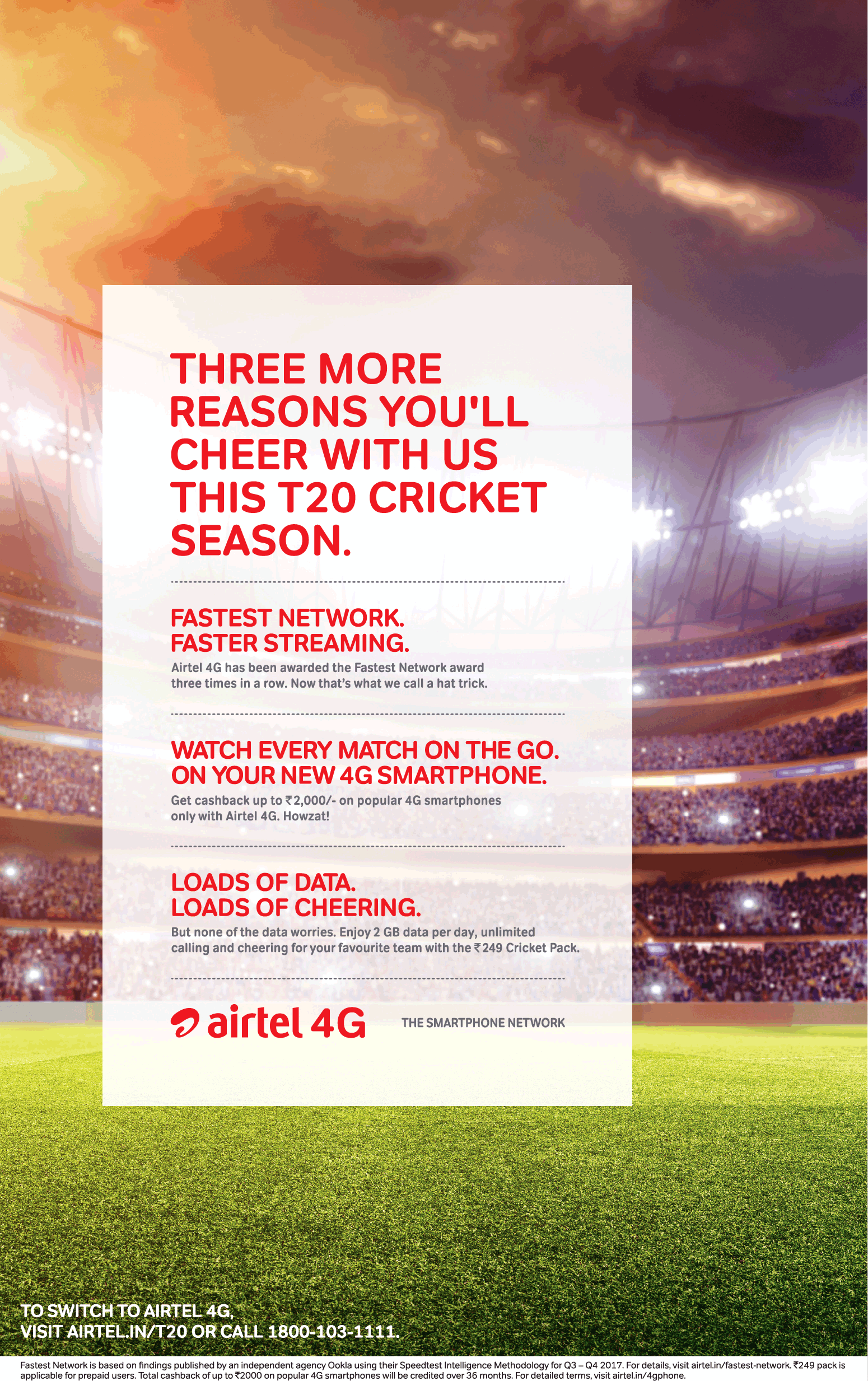 Airtel 4G Three More Reasons You Wull Cheer With Us This T20 Cricket Season Ad