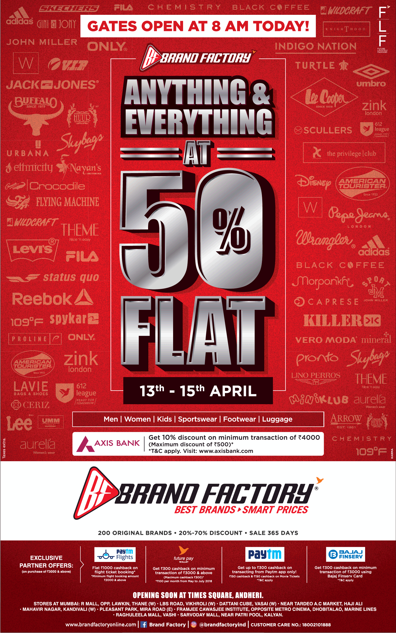 Brand Factory Anything At 50% Flat 13Th To 15Th April Ad