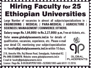 Global Placements Hiring Faculty For 25 Ethiopian Universities Ad