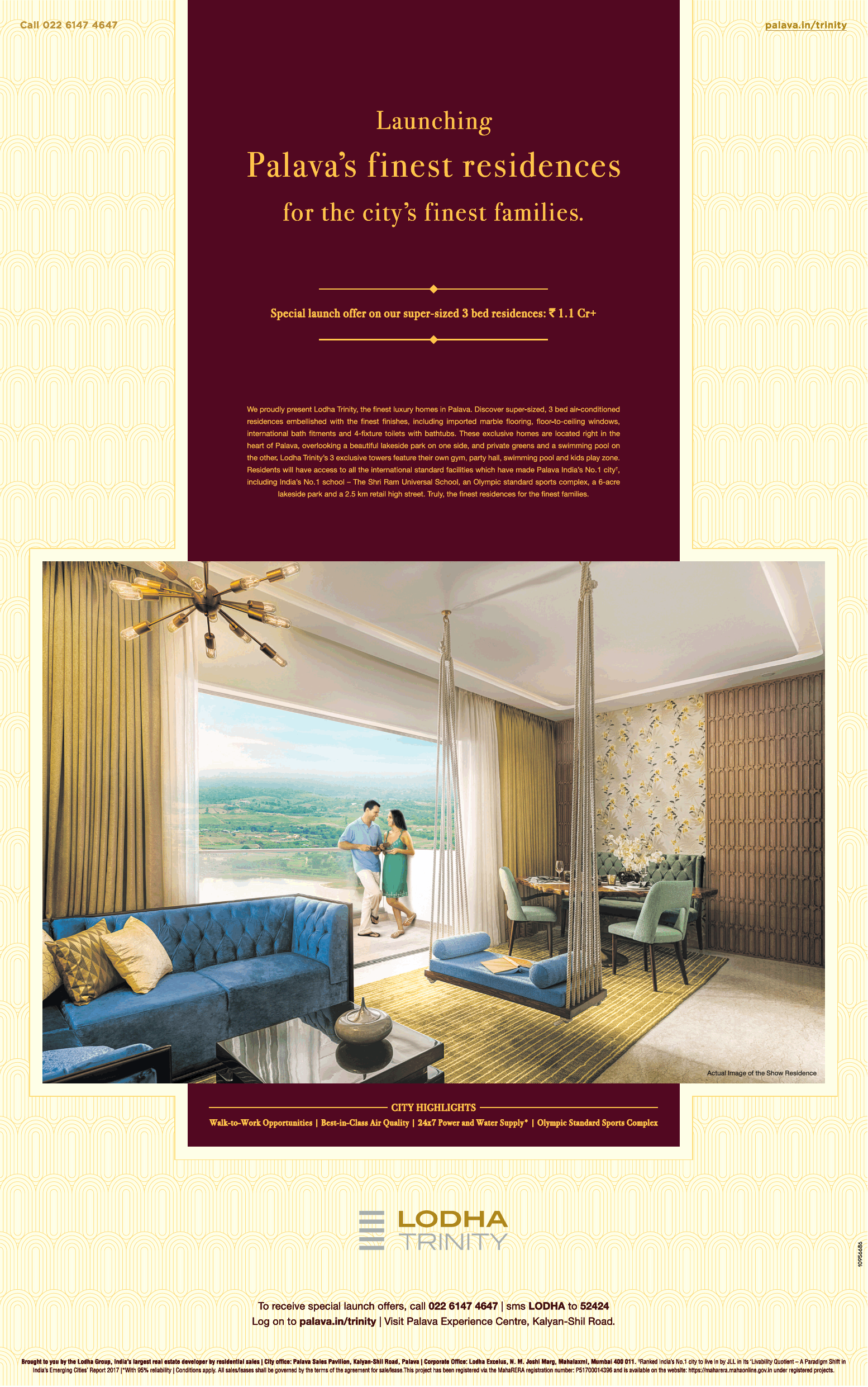 Lodha Trinity Launching Palavas Finest Residences Ad