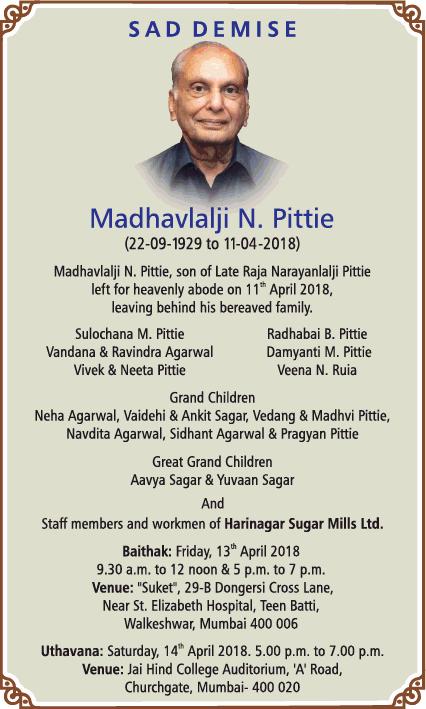 Madhavlalji N Pittie Obituary Ad