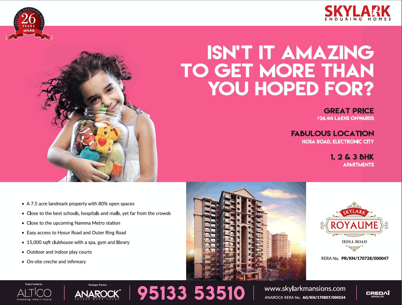 Skylark Enduring Homes 1 2 And 3 Bhk Apartments Ad