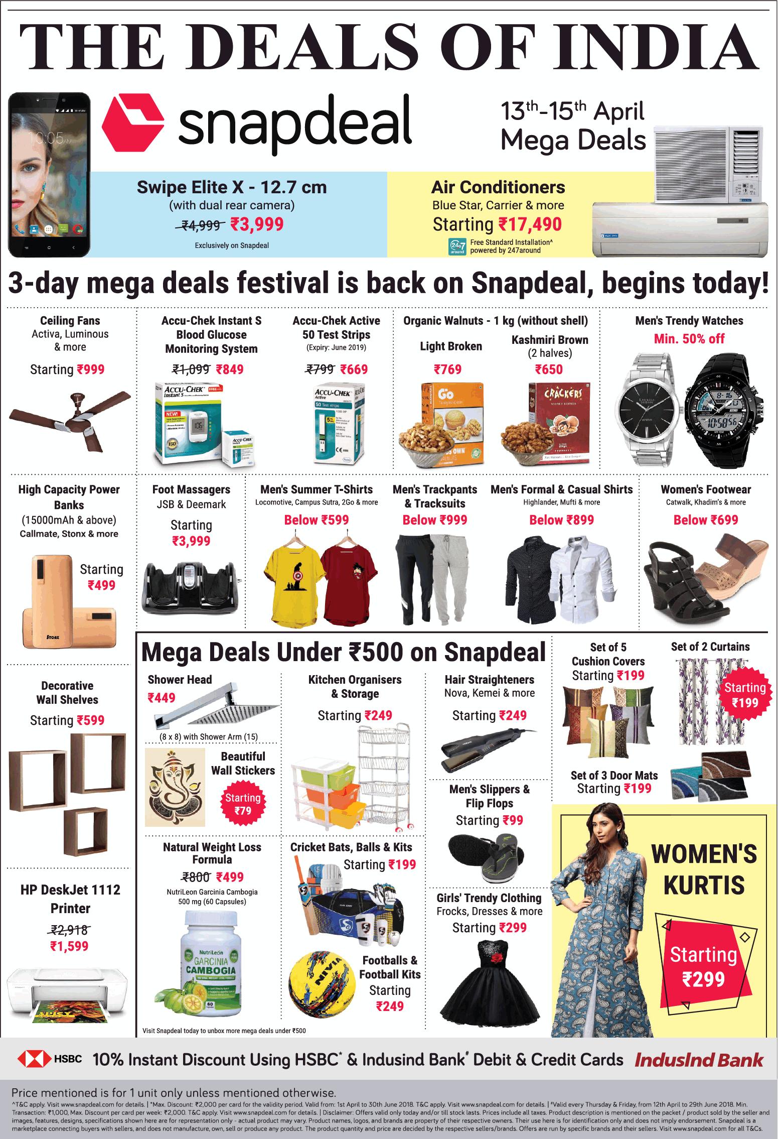 8c71d8a3c9e Snapdeal The Deals Of India 13Th To 15Th April Mega Deals Ad ...