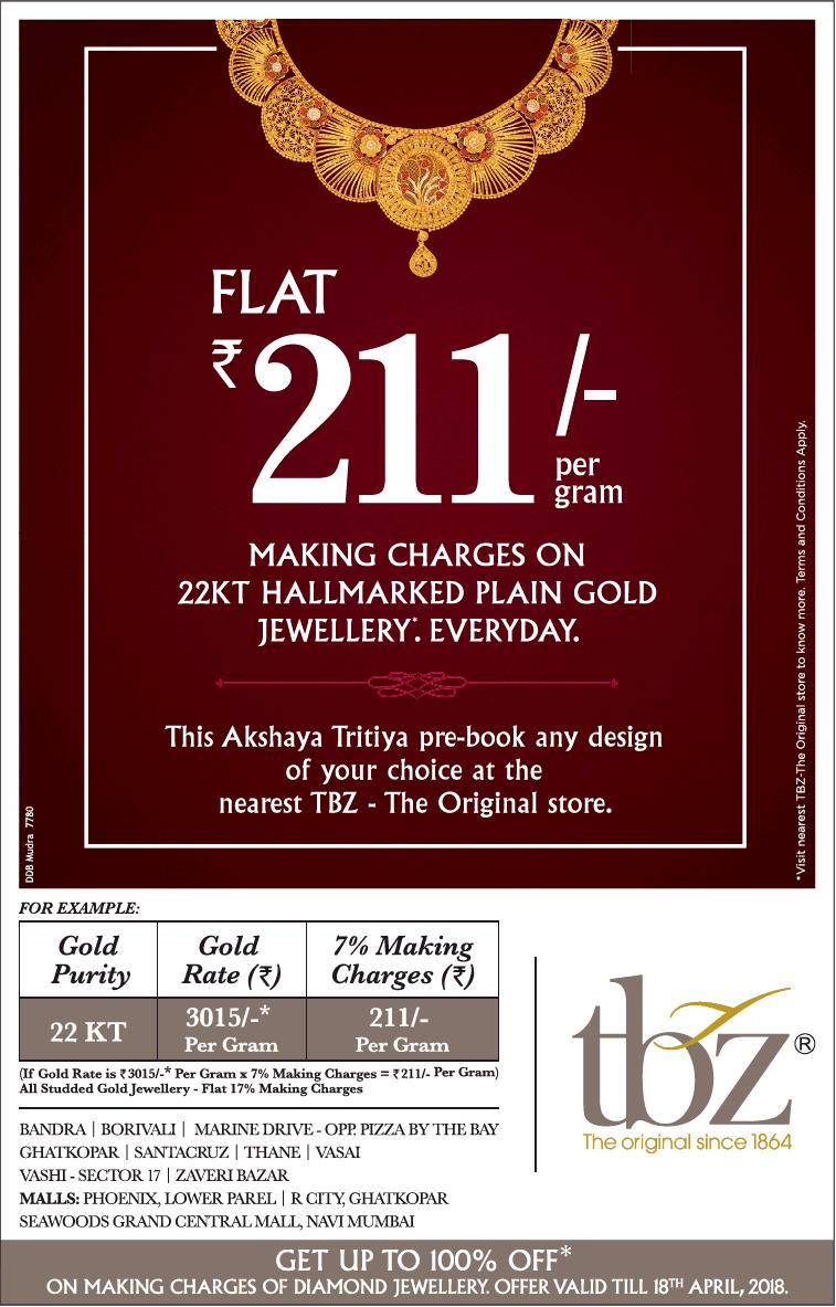 Tbz Jewellers Flat Rs 211 Per Gram Ad
