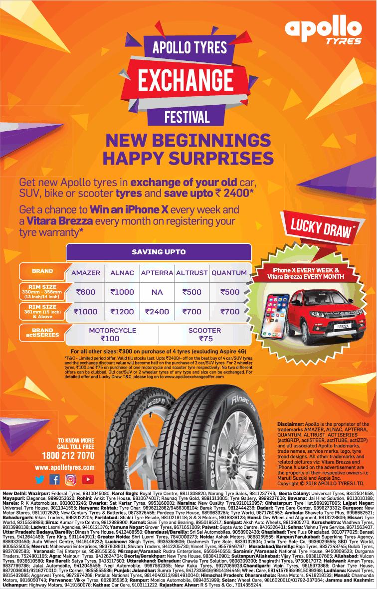 Apollo Tyres Exchange Festival New Beginnings Happy Surprises Ad
