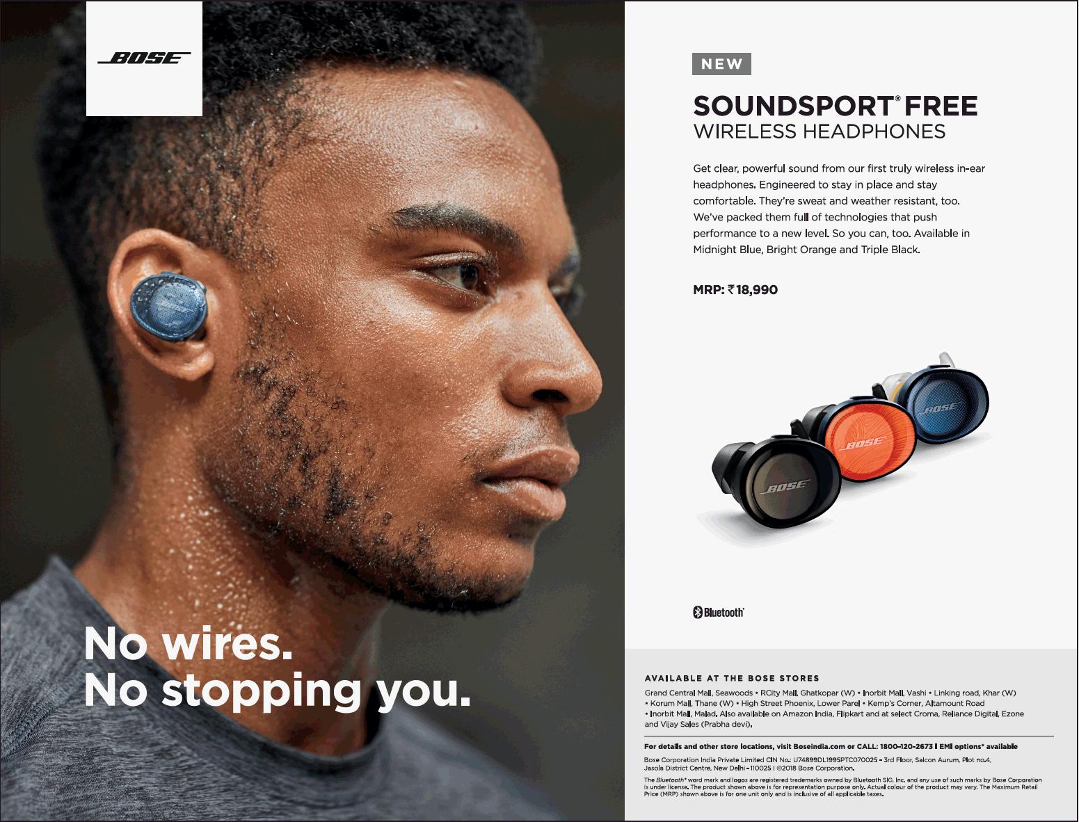 Bose Headphones Soundsport Free No Wires Stopping You Ad Advert Wireless Earphone Orange