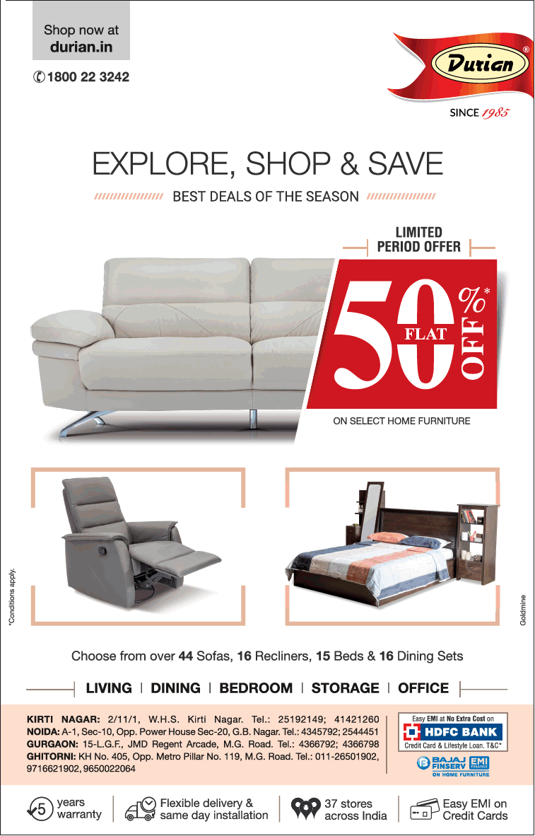 Durian Explore Shop And Save Flat 50% Off Ad