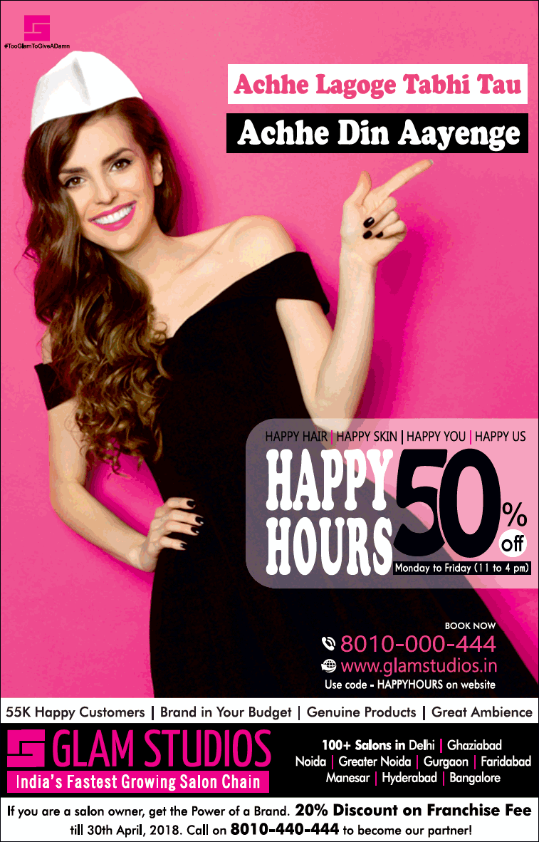 Glam Studios Hppy Hours 50% Off Ad