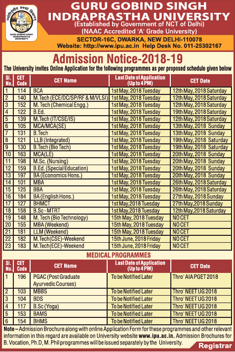 Guru Gobind Singh Indraprastha University Admission Notice Ad