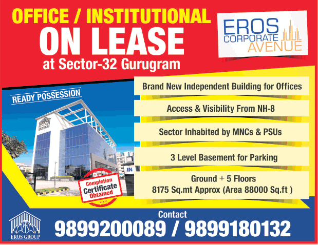 Eros Corporate Avenue Office Institutional On Lease Ad