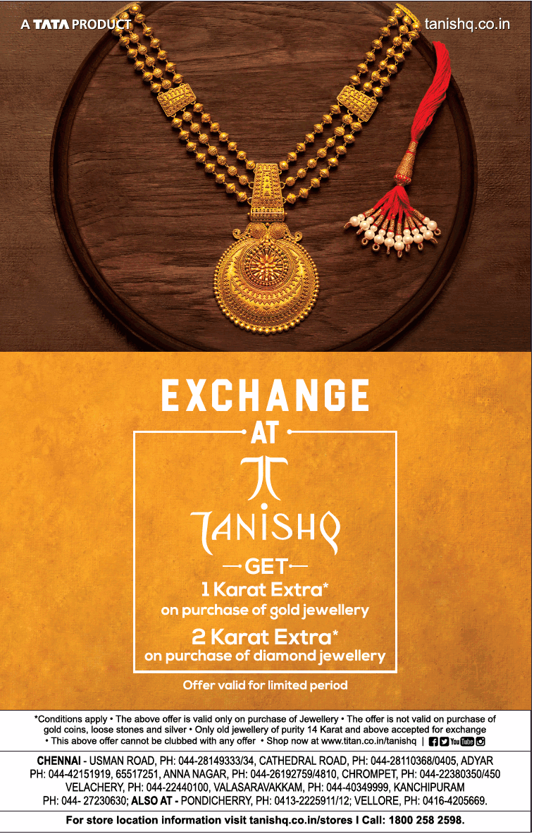 a2ab7013122ee Exchange At Tanishq Get 1 Karat Extra On Purchase Of Gold Jewellery ...
