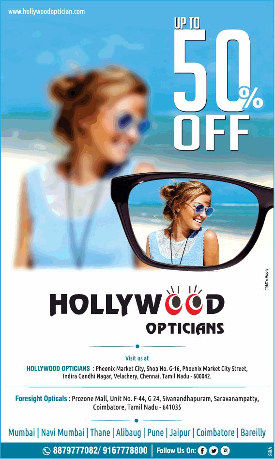 Hollywood Opticians Upto 50% Off Ad