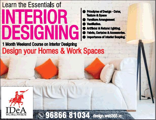 Idea Worldwide Learn The Essentials Of Interior Designing Ad