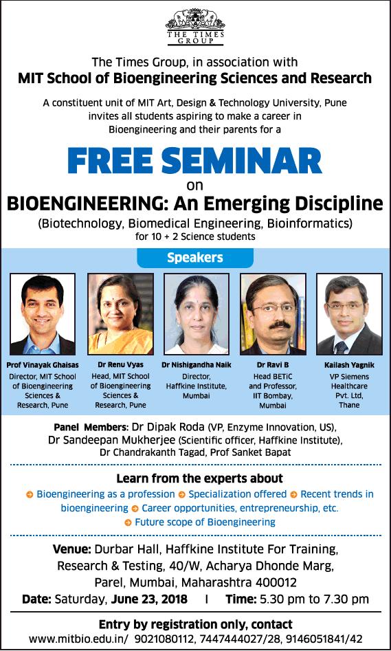 Mit School Of Bioengineering Sciences And Research Free Seminar Ad