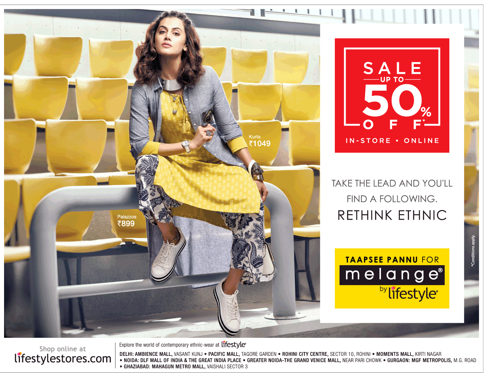 9e0c3002e91d Taapsee Pannu For Melange By Lifestyle Sale Up To 50% Off Ad ...
