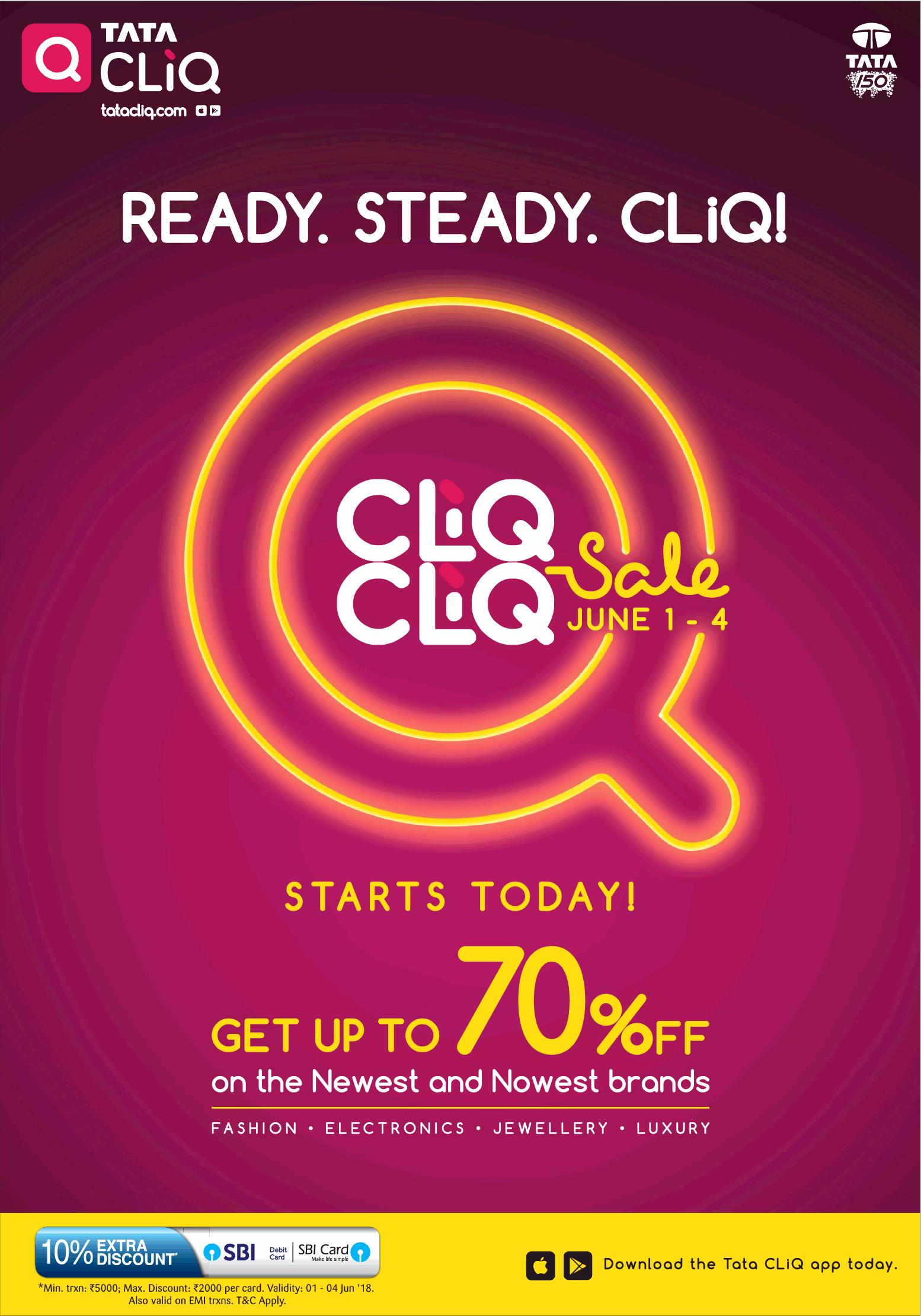 bcdff8f0e0f Tata Cliq Cliq Cliq Sale Get Upto 70% Off Ad - Advert Gallery