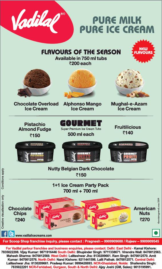 Vadilal - Advert Gallery Vadilal Ice Cream Price List