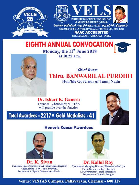 Vels Institute Of Science And Technology Eigth Annual Convocation Ad