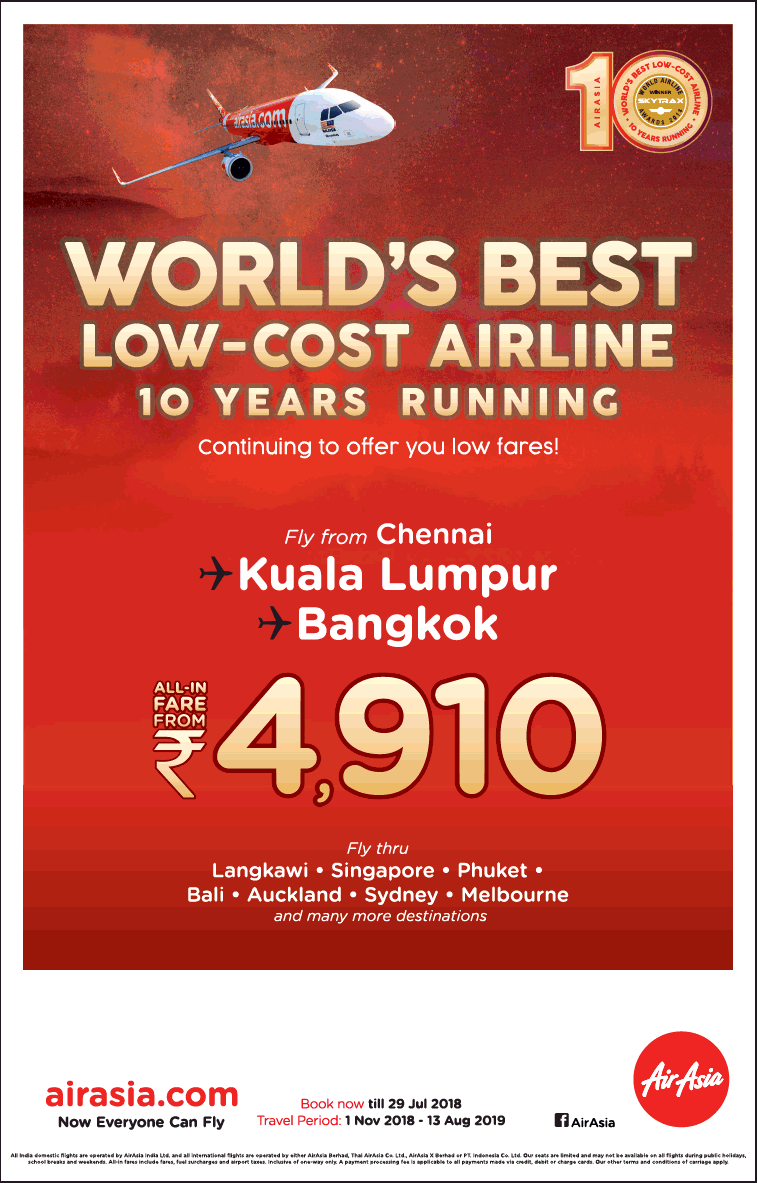 Airasia Airlines Advertisement Collection Published In Newspaper India Ticket  Air Asia Periode 2018 2019 Worlds Best Low Cost Airline 10 Years Running Rs 4910 Ad