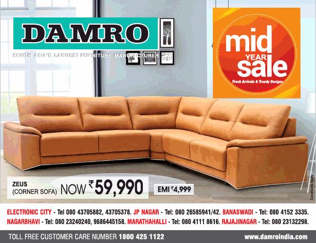 Damro Mid Year Sale Zeus Corner Sofa Now Rs 59990 Ad ...