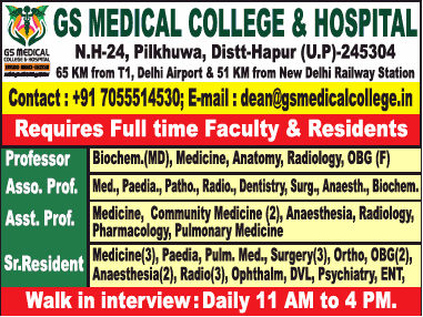 Gs Medical College And Hospital Requires Professor Ad