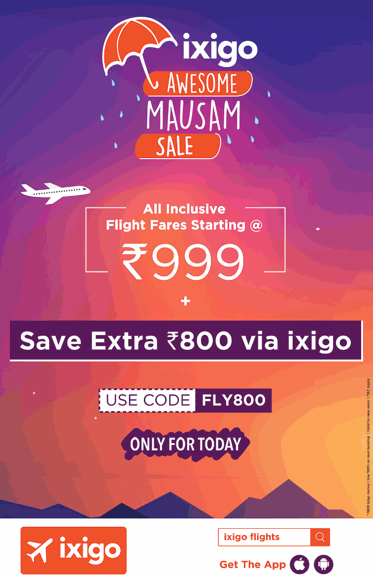Ixigo Amwesome Mausam Sale All Inclusive Flight Fares Starting At Rs