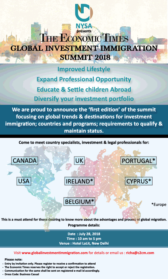Nysa Presents The Economic Times Global Investment Immigration Summit 2018 Ad Times Of India Delhi 22 07 2018.Png