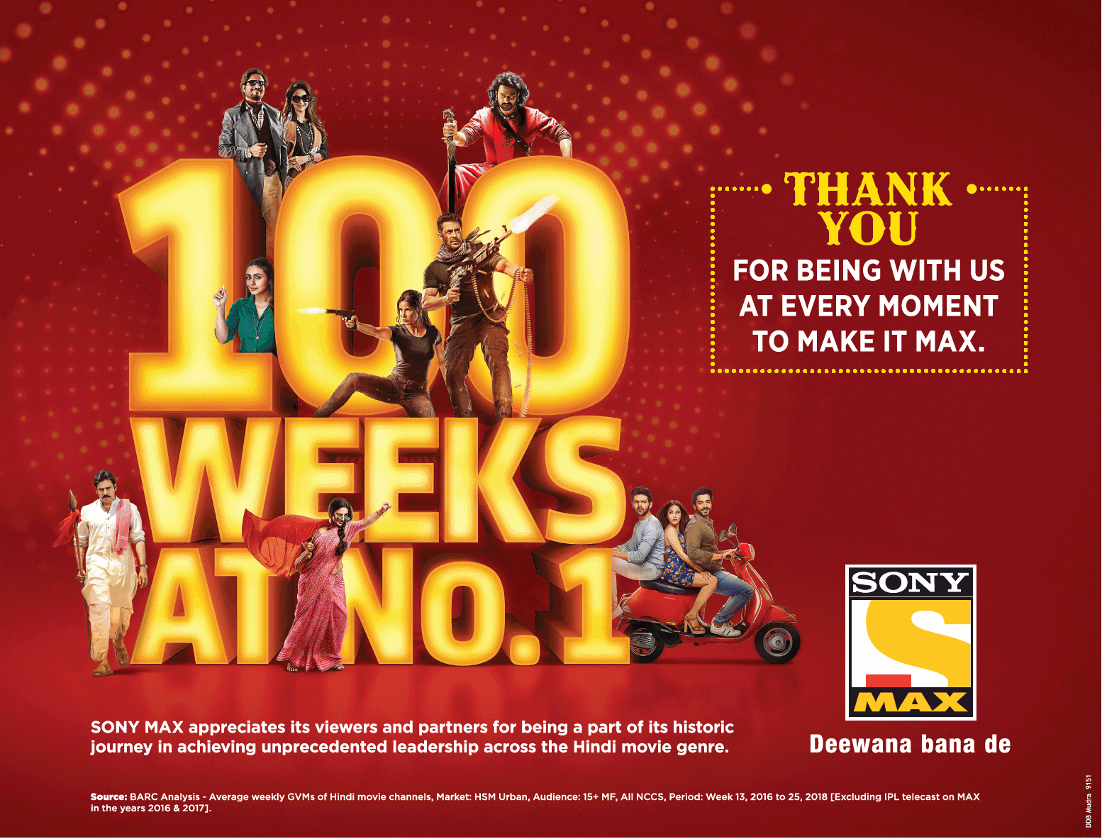 Sony Max Thank You 100 Weeks At No 1 Ad - Advert Gallery