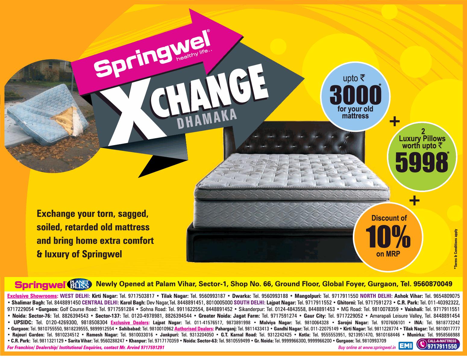Springwel Exchange Dhamaka Discount Of 10% On Mrp Ad