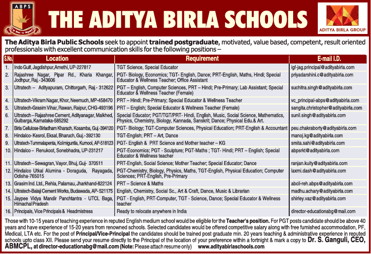 The Aditya Birla Schools Seeks Ad - Advert Gallery