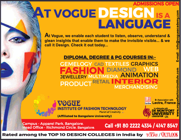 Vogue Institute Of Fashion Technology Admissions Open Ad Advert Gallery