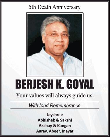 5Th Death Anniversary Berjesh K Goyal Ad