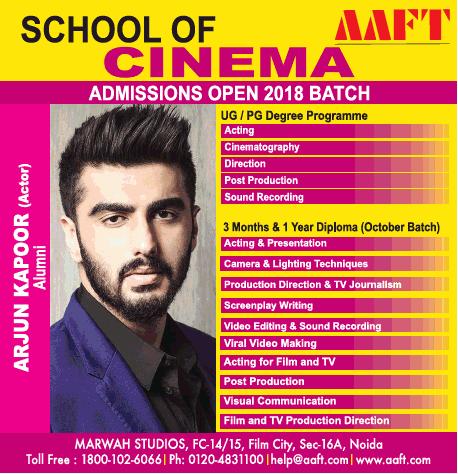Aaft School Of Cinema Admissions Open 2018 Batch Ad