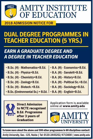Amity Institute Of Education 2018 Admission Notice Ad