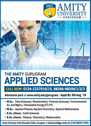 Amity University Gurugram Applied Sciences Ad
