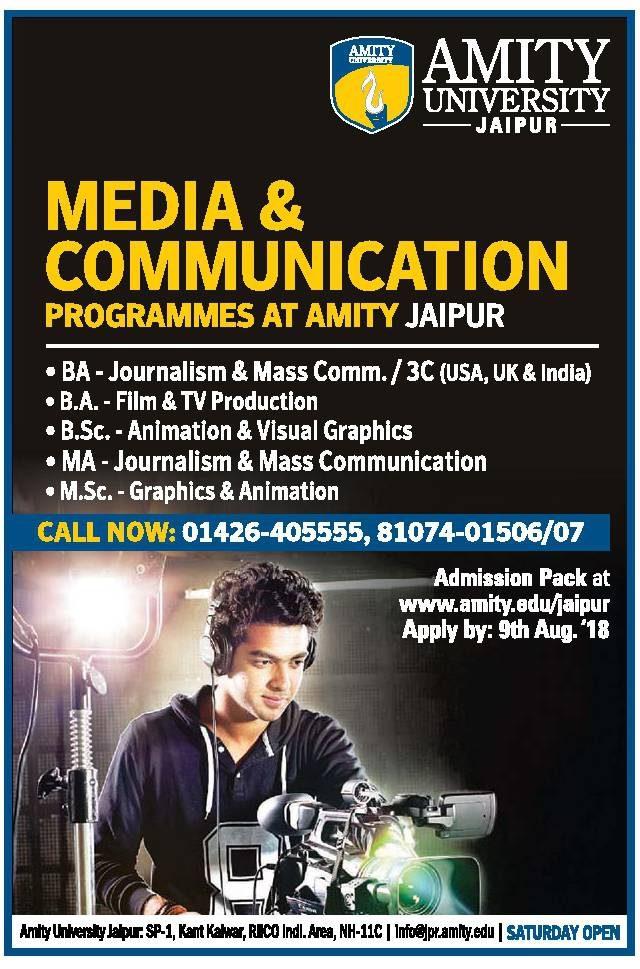 Amity University Jaipur Media And Communication Programmes At Amity Jaipur Ad