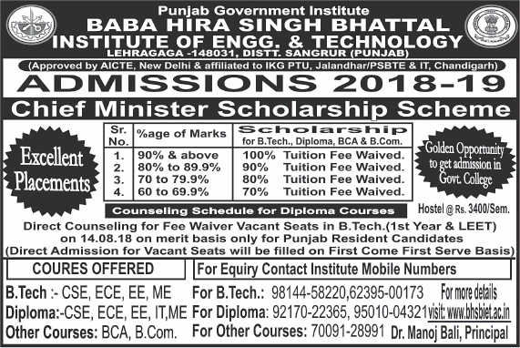 Baba Hira Singh Bhattal Institute Of Engg And Technology Admissions 2018 19 Ad