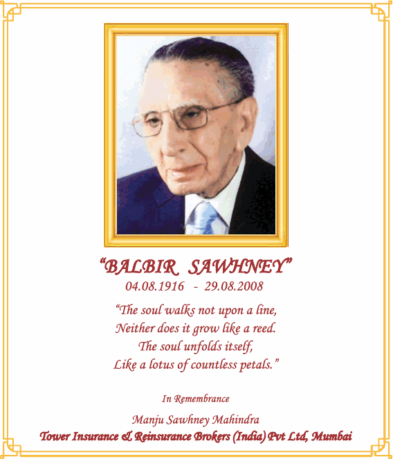 Balbir Sawhney Obituary Ad
