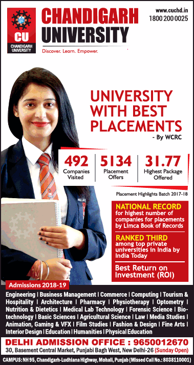 Chandigarh University With Best Placements Ad